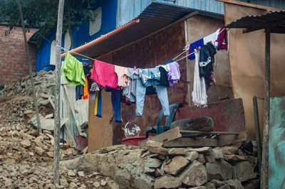 Colourful drying clothes in front of Sra Ninfas house